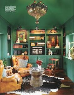A home office is the perfect spot to pick for a home library. Also, when break times eventually do come around, yo Dark Interiors, Beautiful Interiors, Tent Design, House Design, Ken Fulk, Green Library, Vintage Library, Home Building Design, Luxury Decor