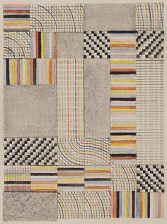 Bauhaus online archive from Harvard Art Museum! Anni Albers, Design for a Rug, 1927 Art Bauhaus, Bauhaus Textiles, Design Bauhaus, Motifs Textiles, Textile Patterns, Anni Albers, Josef Albers, Bts Design Graphique, Bungalow Haus Design