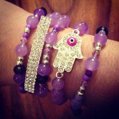 Purple Bling Gemstone Rhinestone Crystal Hamsa Arm Candy Bracelet Set