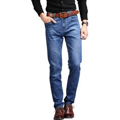 19.11$  Buy now - http://ali2pb.shopchina.info/go.php?t=32799446048 - Odinokov 2017 Brand Men Jeans Size 28 To 42  Blue Stretch Denim Slim Fit Men Jean For Man Pants Trousers Jeans  #buyininternet