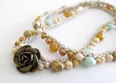 Crochet wrap bracelet beaded aqua rose gold by CoffyCrochet, $28.00