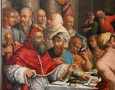 1539-40.Cena di San Gregorio Magno(Clemente VII).Giorgio Vasari (1511-74) oil on panel.403х255 cm. Pinacoteca Nazionale di Bologna.