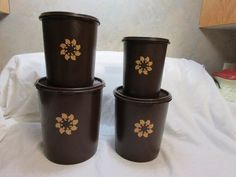 Vintage Set Of Four Fudge Brown Tupperware Canisters Tupperware Canisters, Sunflower Design, Small One, Fudge, Two By Two, Brown, Vintage, Brown Colors, Vintage Comics