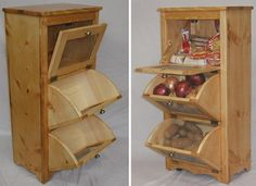 This solid pine storage bin is designed to hold potatoes and onions with miscellaneous storage in the top partition | WoodworkerZ.com