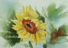 This is my original watercolor of a sunflower in the country. It was painted in the collector size known as ACEO size. This size is 2 ½ x 3 ½ inches, and it comes matted in a 5 x 7 mat. The painting and mat have an acid-free foamboard backing, and everything will be wrapped in a clear mylar sleeve. Everything will be ready to pop into a standard 5 x 7 frame, or it could be rematted to fit into a larger frame. It will be prepared in such a way that it can be given as a gift, even without a…