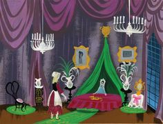 Mary Blair concept painting featuring 'Cinderella' and her 'Evil Stepmother' from Cinderella.