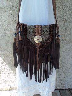 Handmade Fringe Brown Leather Cross Body Boho Bag Hippie Western Purse tmyers #Handmade #MessengerCrossBody