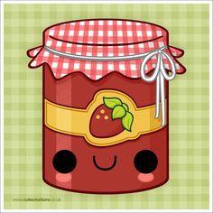 Strawberry Jam by Cute-Creations Kawaii 365, Kawaii Chibi, Kawaii Cute, Cute Food Drawings, Cute Kawaii Drawings, Kawaii Illustration, Cartoon Painting, Kawaii Doodles, All Things Cute