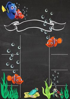 tarjeta de invitación del primer año motivo NEMO Chalkboard Poster, Birthday Chalkboard, Happy B Day, Party Props, Finding Nemo, Birthday Invitations, Invites, Holidays And Events, Invitation Cards