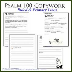 Psalms 100 Copywork (regular ruled and primary lined versions) Psalm 100 Kjv, Psalms, Bible Lessons, Lessons For Kids, Printable Bible Verses, Free Printable, Scripture Memorization, Bible Study For Kids, Sunday School Lessons