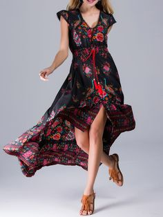 #AdoreWe #StyleWe Designer Maxi Dresses - Designer CICI WANG Black Printed High Low Short Sleeve Vintage Maxi Dress - AdoreWe.com