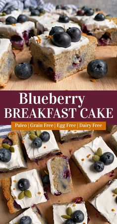 This healthy blueberry breakfast cake is made with grain free flours, lightly sweetened with honey (maple syrup for vegan) and loaded with fresh blueberries. This is the best Paleo breakfast cake! Easy to make, great prepped ahead of time and a kid favorite. #blueberrycake #vegancake #paleocake #breakfastcake Healthy Blueberry Desserts, Blueberry Breakfast, Healthy Cake, Breakfast Cake, Healthy Dessert Recipes, Free Breakfast, Breakfast Ideas, Breakfast Recipes, Blueberry Cake