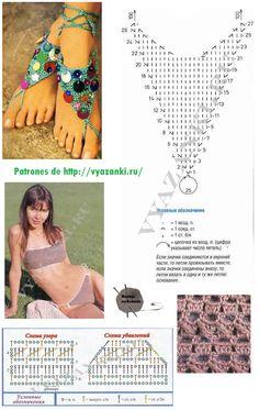 Patrones Crochet: Conjunto Playa Patrones Crochet Lingerie, Crochet Shoes, Crochet Slippers, Crochet Clothes, Crochet Chart, Crochet Motif, Crochet Flowers, Crochet Patterns, Crochet Bikini Pattern