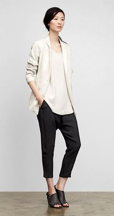 Cream long silky shell with matching cream throw jacket with crop black pants - effortless style by EILEEN FISHER Eileen Fischer, Minimal Fashion, Work Fashion, Japanese Minimalist Fashion, Minimal Chic, Casual Outfits, Fashion Outfits, Womens Fashion, Casual Attire