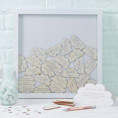 Ginger Ray Cloud Drop Top Frame Guest Book Hello World - Baby Shower Party Decorations Baby Shower Frame, Bebe Shower, Baby Shower Fun, Baby Shower Gender Reveal, Shower Party, Baby Shower Parties, Baby Shower Themes, Baby Boy Shower, Cloud Baby Shower Theme
