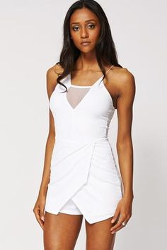 WHITE STRAPPY PLAYSUIT WITH MESH TRIM