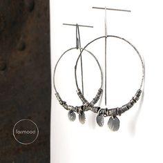 100% Ag earrings raw sterling silver hoop by studioformood