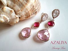 Pink & Fuchsia Zirconia Princess Chandeliers. Teardrop by Azaliya, $63.00