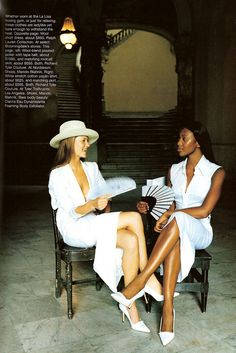US Harper´s Bazaar. May 1998. Kate Moss and Naomi by Patrick Demarchelier.
