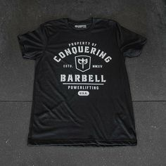Conquering Barbell CrossFit t-shirt Crossfit Clothes, Fitness Clothing, Powerlifting, Barbell, Shirt Designs, Design Ideas, Workout, Hoodies, Tees