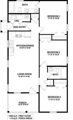 This small Ranch house plan features three bedrooms and two full baths. Cute elevation with front porch. This small Ranch house plan features three bedrooms and two full baths. Cute elevation with front porch. Bungalow Floor Plans, Small House Floor Plans, Modern House Plans, Full House, Tiny House, Shed House Plans, House Layout Plans, Ranch House Plans, Shotgun House Plans