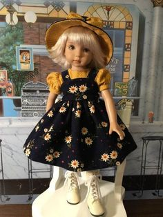 """""""Daisy Delight"""" Made for 13"""" Effner Little Darling. Treasured Doll Designs Presents """"Daisy Delight"""". Seams have been serged where needed. All my lovely girls stay here in the Treasure Valley with me. 