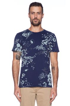 Altru South Seas Floral Tee in Navy