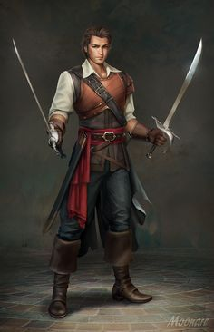 Armors 856458054121698445 - ArtStation – D&D Character Pirate, Audia Pahlevi dual sword wielder character concept inspiration male character PAthfinder Skulls and Shackles Source by