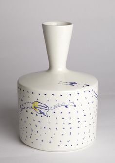 Vase design by Ugo La Pietra, made in Decor9 and 3B workshop in Nove (VI) in 2013. Ceramic. Height 20 cm.     Unique piece. Signed and painted by designer.