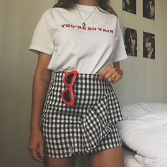printed, skirt, spring, summer, fall, graphic tee, gingham, ruffles