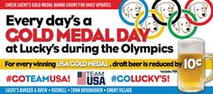 Lucky's is gearing up for the Olympics to begin 8/5/16! Follow all the games RIGHT HERE! And keep your eye on the Olympic Gold Medal Count board at Lucky's .... For every USA Olympic Team gold medal, WE REDUCE DRAFT BEER BY 10¢. (*PBR Excluded)  #GoTeamUSA #GoTeamLuckys #goldmedal