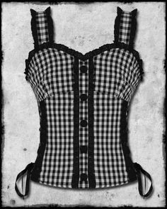 HELL BUNNY GINGHAM CORSET TOP-I want to wear this with a black jacket, jeans, and some black boots....or red jacket and red boots!