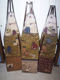I collect wooden ironing boards and have alway wanted to paint Santas on them.
