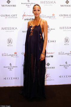 Dazzling: Pregnant model Noémie Lenoir dazzled at the Global Gift Gala in Paris on Monday ...