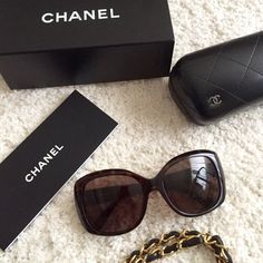 Chanel Sunglasses TRADESPayPal. % Authentic The Chanel 5183. These are in excellent condition. Had less then a year but bought a new pair and don't need.  Tortoise frame w/brown lenses. Interlocking C's grace each temple for an authentic edge and the oversized sculpture portrays sheer glamour and elegance. Tiny scratches on lens but doesn't affect visibility, also a minor scratch on left of frame very minor, comes with box, leather Chanel case, pouch and unopened cleaning cloth. In excellent…