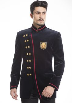 Black Velvet with red rim design jacket by Diwan Saheb. Find it here : http://ctaare.com/stores/diwan-saheb/black-velevt-with-red-trims-jodhpuri.html