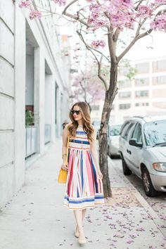 The prettiest striped dress for spring.