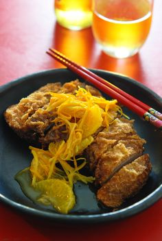 Neil Perry's 'Crispy-pressed duck with mandarin sauce'. Duck Recipes, Asian Recipes, Chow Chow, Entrees, Steak, Pork, Turkey, Beef, Kitchens