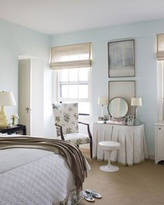 Room of the Day ~ another view of this blue and white bedroom with charming floral accent in chair - love pleated skirt on dressing table - Brookyln, New York | Tom Scheerer 12.29.2013.