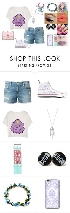 """""""A Outfit"""" by jordanbond55 ❤ liked on Polyvore featuring Frame Denim, Converse, Lime Crime, Lucky Brand, Maybelline and Valentino"""