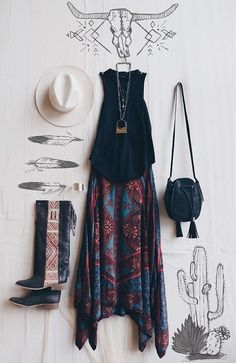 Boho outfit flat lay   #BBFEST #beginningboutique