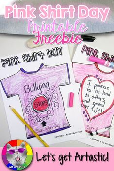 How to create a Pink Shirt Day Art Project in your classroom for FREE! This is a free printable and tutorial for you to Kindergarten Activities, Writing Activities, Bullying Activities, Kindness Activities, Valentine Activities, Projects For Kids, Art Projects, Pink Day, Anti Bullying