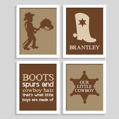 Cowboy Print Set - Sheriff Print - Set of Four 8x10 Prints - Nursery Art - Baby Wall Art - Boy Room - Western Nursery - Cowboy Nursery on Etsy, $44.00