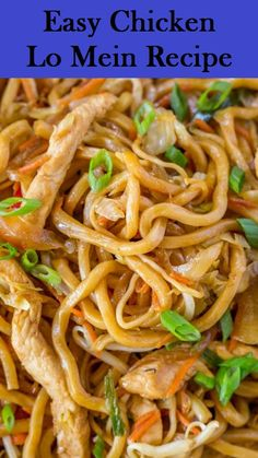 Chicken Lo Mein with chewy Chinese egg noodles, bean sprouts.- Chicken Lo Mein with chewy Chinese egg noodles, bean sprouts, chicken, bell peppers and carrots in under 30 minutes like your favorite Chinese takeout restaurant. Authentic Chinese Recipes, Chinese Chicken Recipes, Easy Chinese Recipes, Asian Chicken, Instant Pot Chinese Recipes, Chinese Noodle Recipes, Homemade Chinese Food, Rice Noodle Recipes, Chinese Desserts