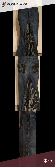 DKNY Custom denim skirt Denim jean skirt w/camouflage accent in front, back, side pipping & back pockets. 2 front, 2 back pockets. DKNY Skirts Maxi