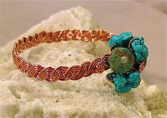 Desert Spirit - Handwoven Turquoise Buffalo Jasper Copper Bracelet (Customer Design) - Lima Beads