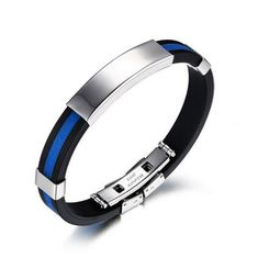 Thin Blue Line Silicone Bracelet with Running Stainless Steel Clasp