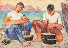 """GIANBECCHINA (Sambuca di Sicilia 1909 – Palermo 2001) OLIO su masonite """"pescatori""""."""