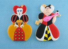 Two different versions of the Queen of Hearts using the same heart-shaped cookie cutters.