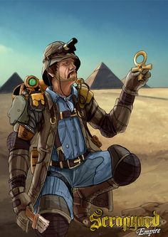 A favorite character in Scrapyard Empire - Otto Von Deeg! Check out more characters here - http://www.scrapyardempire.com #archaeologist #steampunkcharacter #steampunkgame